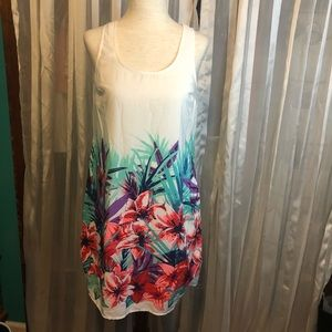Old Navy Tropical Floral Print White Sheath Dress